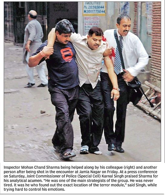A snippet from <i>Hindustan Times</i>' coverage of the encounter of 21 September 2008.