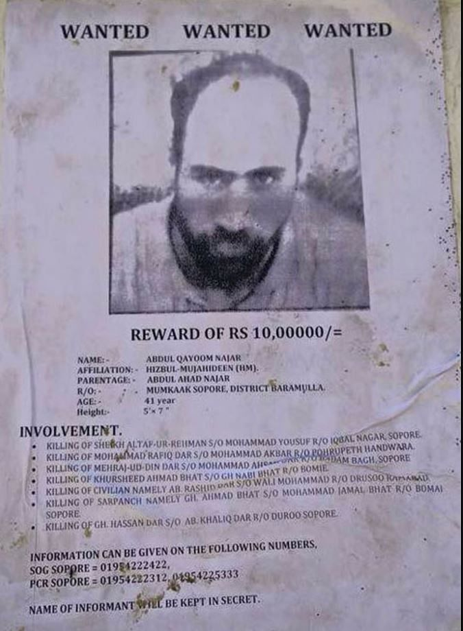 Najar reportedly carried a reward of Rs 10 lakh on his head.