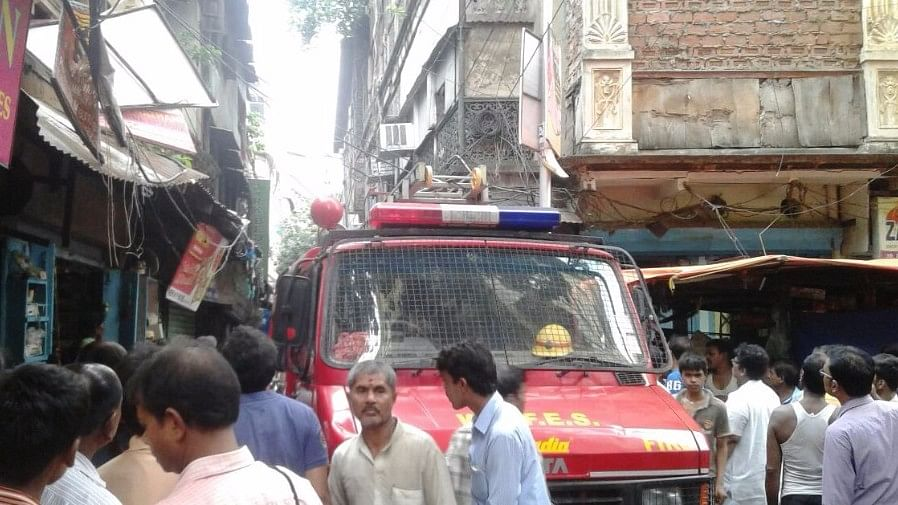 The scene outside the collapsed building in Burrabazaar, Kolkata.
