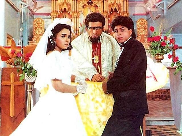 Suchitra Krishnamurty, Naseeruddin Shah and Shah Rukh Khan in a scene from <i>Kabhi Haan Kabhi Na. </i>