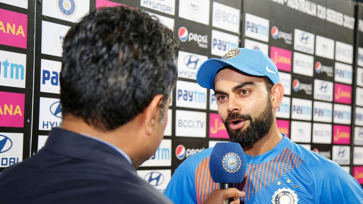 Virat Kohli at the post-match presentation ceremony.