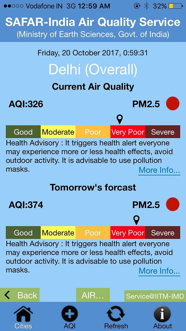 And what's worse, Delhi's air quality will get worse by 20 October. <i>(Screenshot: SAFAR app)</i>