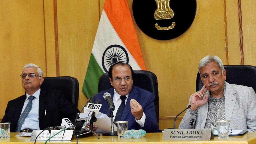 Election Commissioner AK Joti, flanked by Election Commissioners Sunil Arora and OP Rawat (L), announces the schedule for the Himachal Pradesh Assembly elections, at a press conference in New Delhi on Thursday.