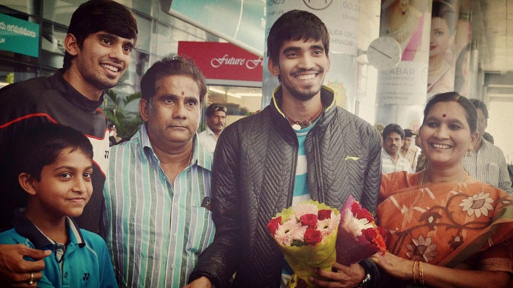 Kidambi Srikanth's parents and brother welcome him home after a successful outing at the Swiss Open Grand Prix Gold in 2015.