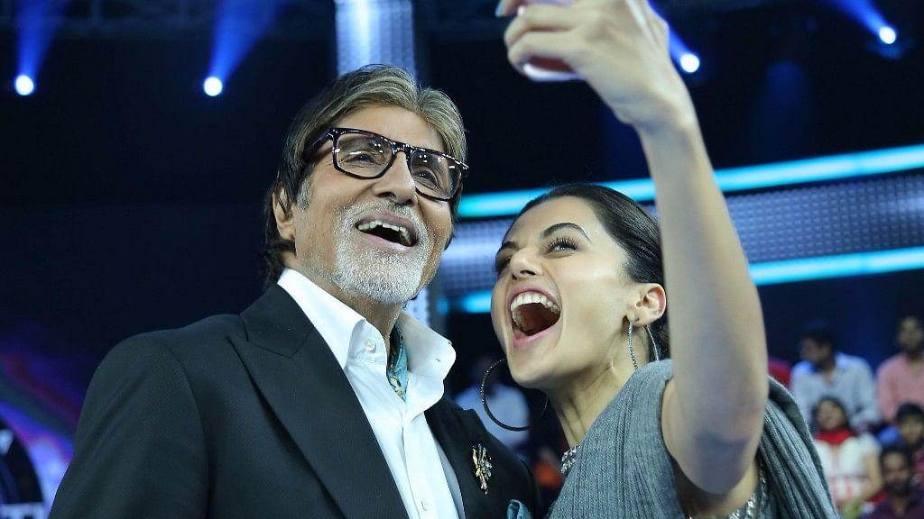 <i>Pink </i>stars Amitabh Bachchan with Taapsee Pannu on <i>Kaun Banega Crorepati 9. </i>