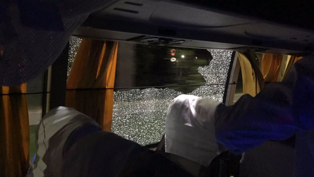 Rocks were pelted at the Australian team bus.