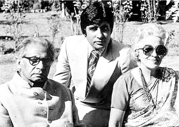 Amitabh Bachchan with his father Harivansh Rai Bachchan and mother Teji Bachchan.