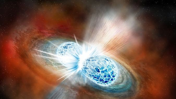 An artist's rendering of the collision of two neutron stars.