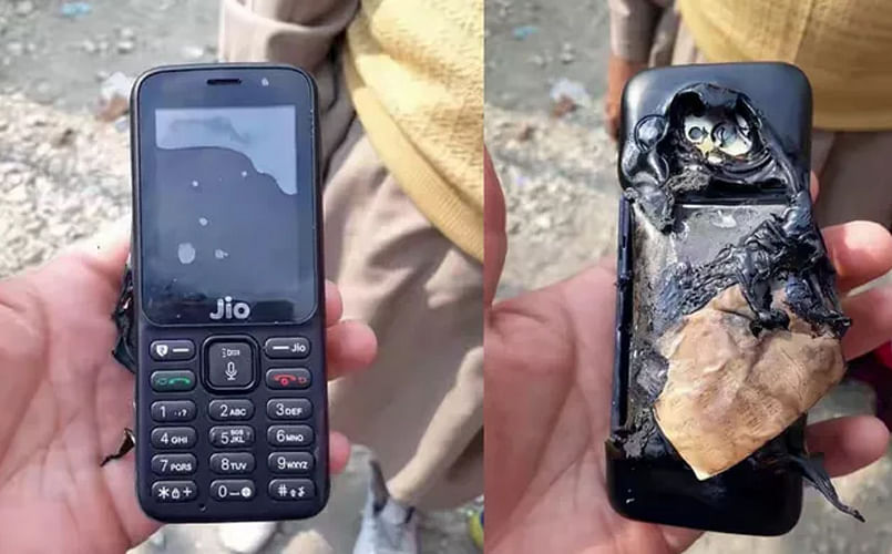 JioPhone caught up flames, back panel melted.