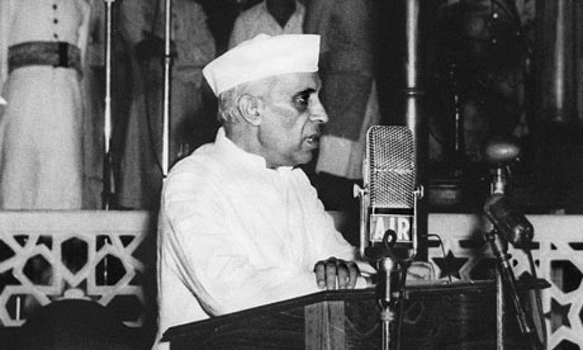 """Image of Nehru delivering his iconic 'Tryst with Destiny"""" speech, used for representational purposes."""