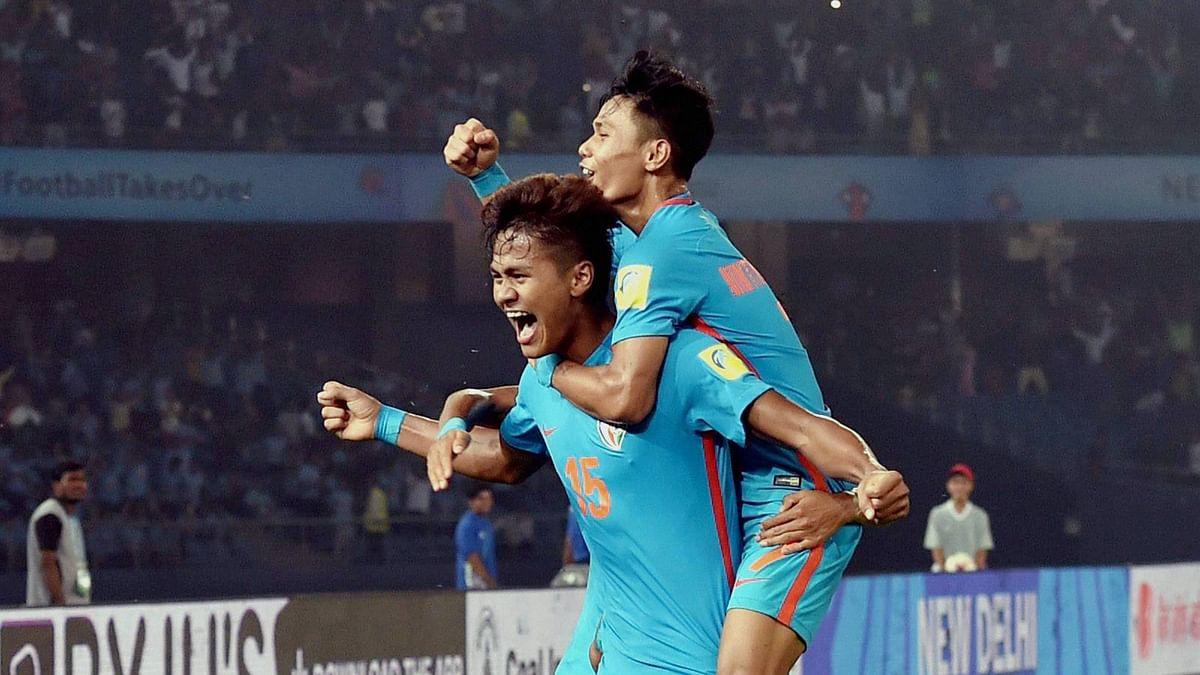 Jeakson Singh celebrates his goal for India in the Under-17 World Cup match agains Colombia.