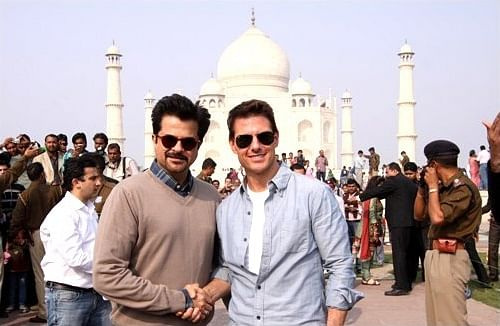 """Anil Kapoor and Tom Cruise at the Taj Mahal, 2016 (Photo Courtesy: <a href=""""https://upload.wikimedia.org/wikipedia/commons/2/26/Tom_Cruise_visits_the_Taj_Mahal_with_Anil_Kapoor.jpg"""">Wikimedia</a>)"""