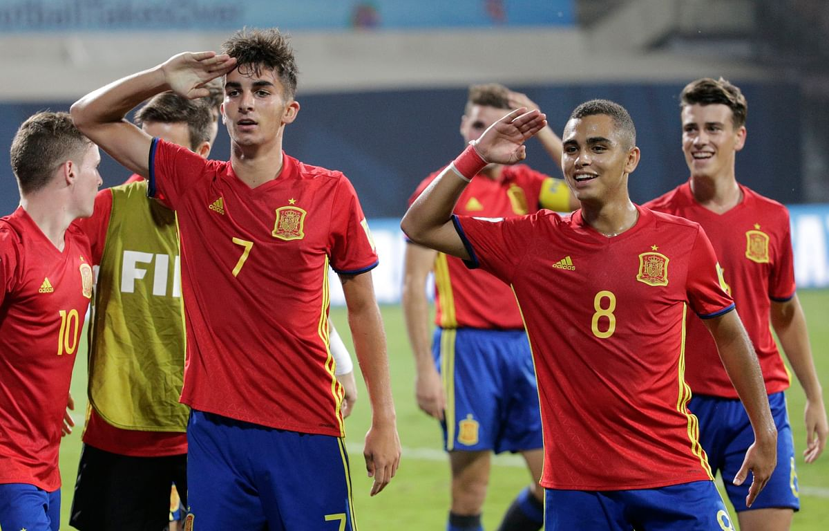 Spain players celebrates after scoring goal during their semi final FIFA U-17 World Cup match in Mumbai. Spain will now face England in the final on Saturday.