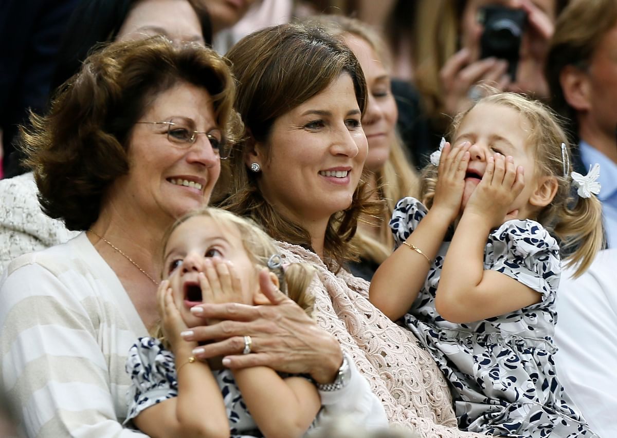 Roger Federer's twin daughters Charlene Riva and Myla Rose at the 2012 Wimbledon.