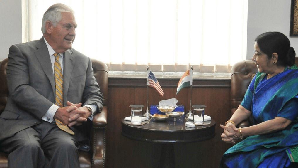 US Secretary of State Rex Tillerson and Sushma Swaraj.
