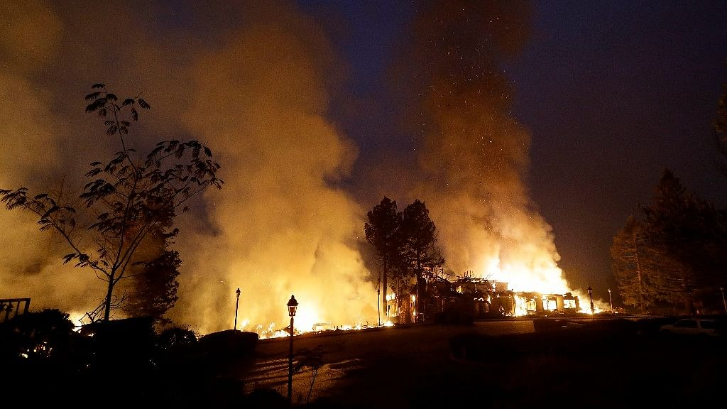 Smoke and flames from fire at the Hilton Sonoma Wine Country hotel in Santa Rosa, California, on Monday.