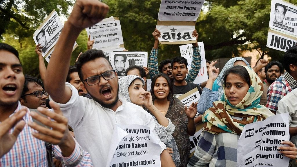Students protesting for investigation to find Najeeb Ahmed