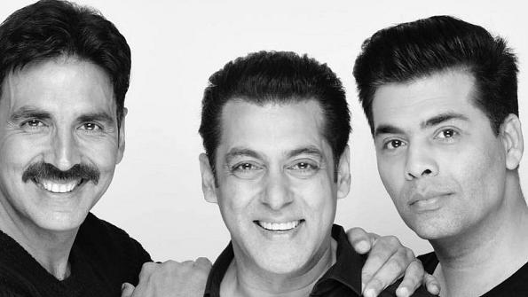 Akshay Kumar and Karan Johar with Salman Khan.