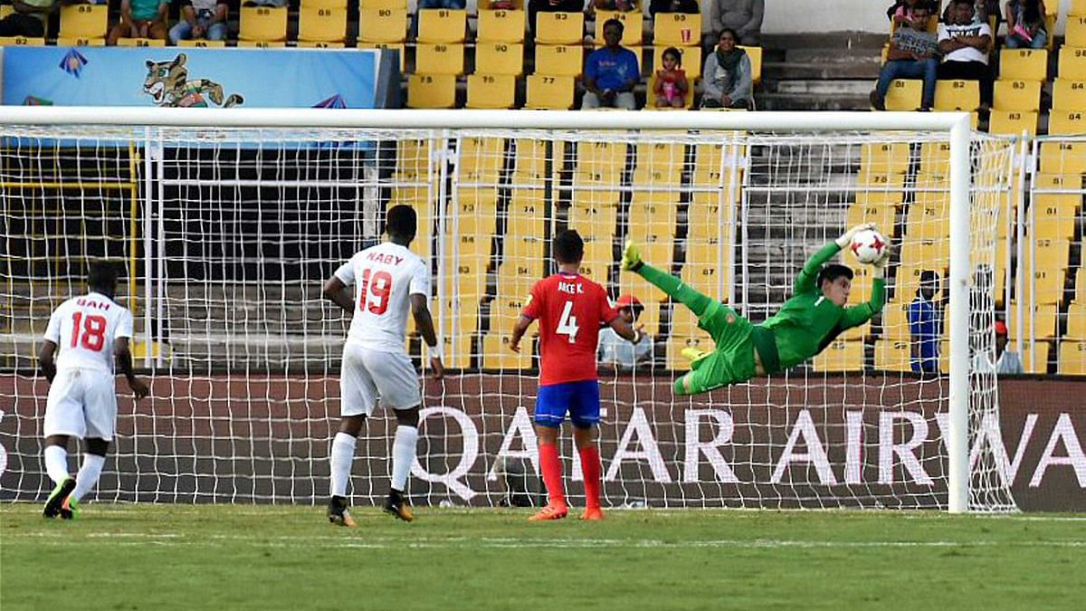 Action from the match between Costa Rica and Guinea during their U-17 FIFA World Cup football match at Pandit Jawaharlal Nehru Stadium, Goa.
