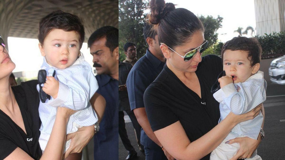 Taimur and mommy Kareena Kapoor at Mumbai airport.