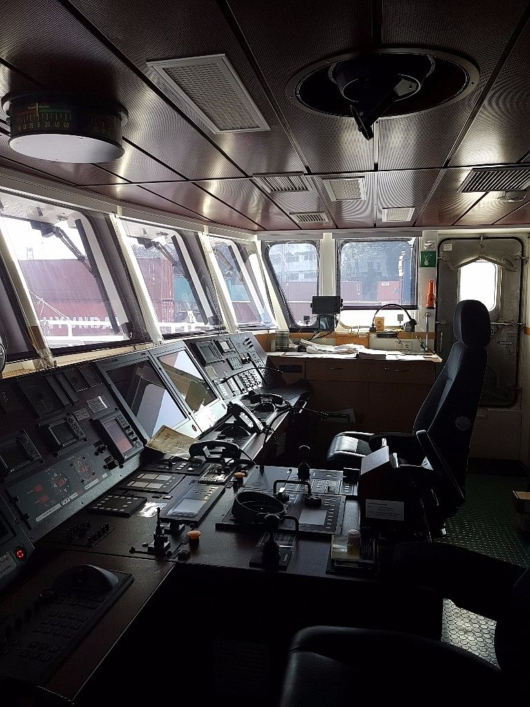 Inside the control room of the Rainbow Warrior.