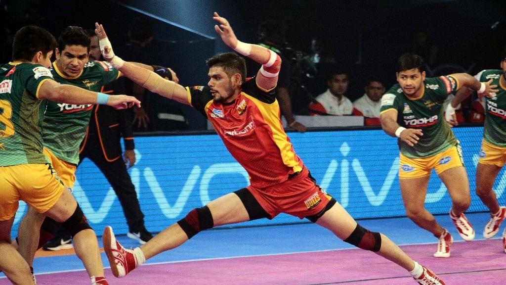 Rohit Kumar created history as he scored 30 raid points to help Bengaluru Bulls hammer UP Yoddha 64-24 in their penultimate match of Vivo Pro Kabaddi Season 5.