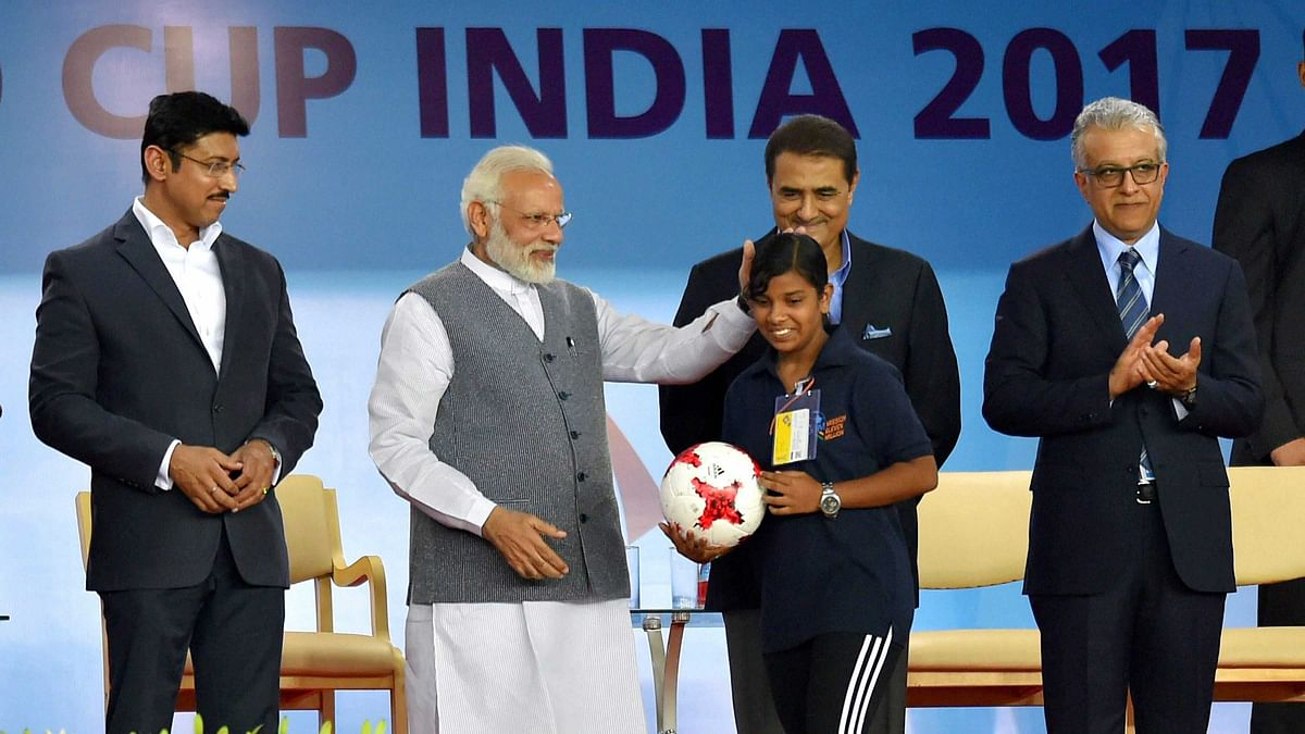 New Delhi: Prime Minister Narendra Modi with Sports Minister Rajyavardhan Singh Rathore at the opening ceremony of FIFA U-17 World Cup 2017 at Jawaharlal Nehru Stadium in New Delhi on Friday.