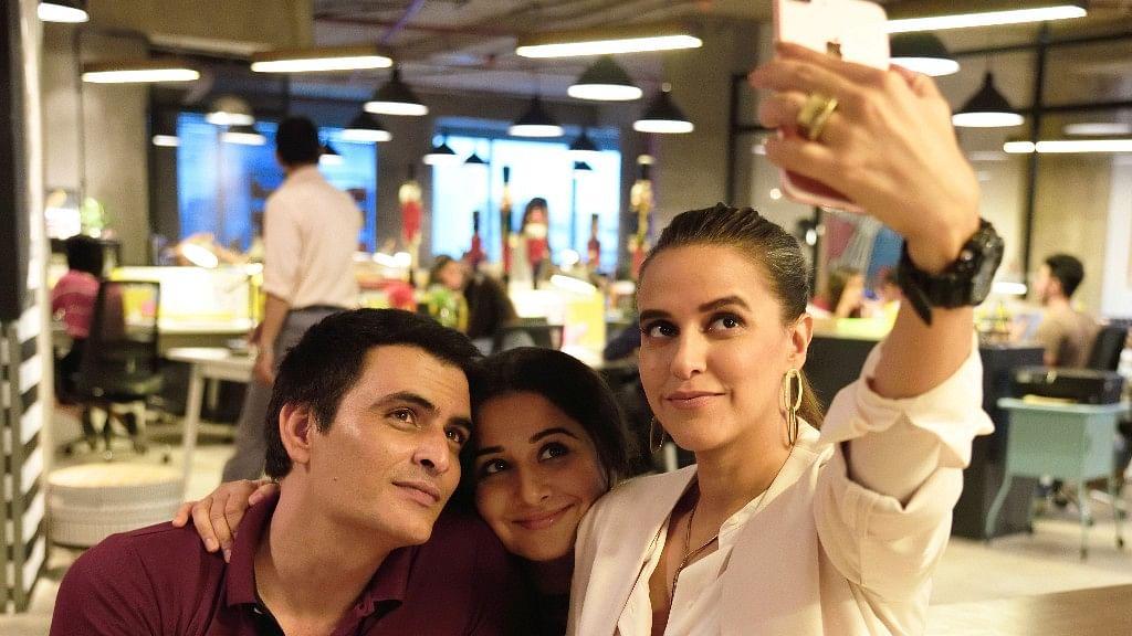 Manav Kaul, Vidya Balan, and Neha Dhupia on the sets of <i>Tumhari Sulu.</i>