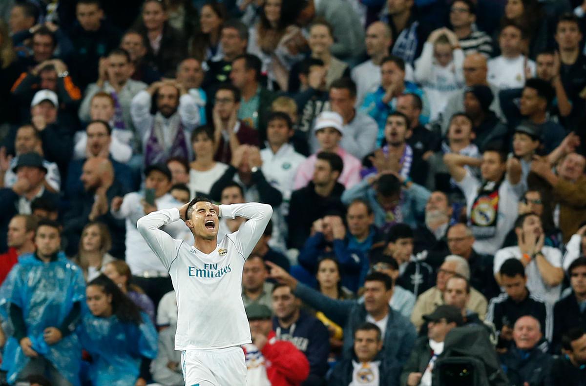 A frustrated Ronaldo during Real Madird's encounter with Tottenham Hotspurs at Santiago Bernabéu this Champions League.