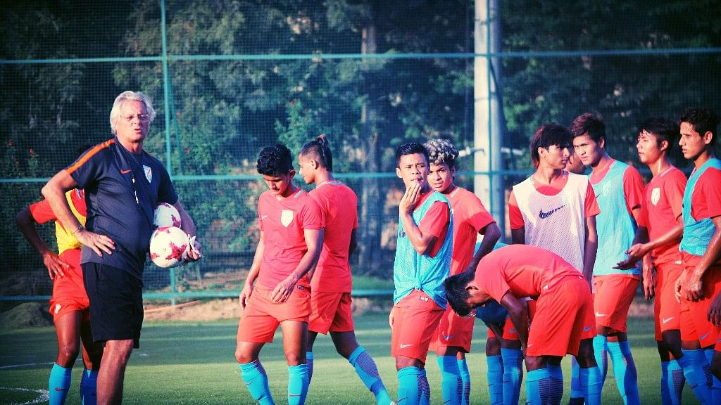 The Indian Under-17 World Cup team at a training session in Delhi.