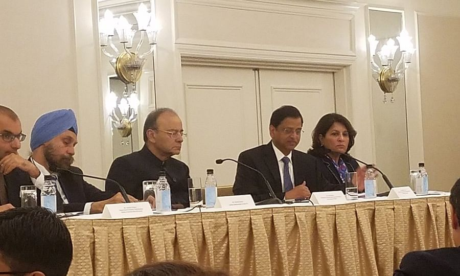 Finance Minister Arun Jaitley at an investors' roundtable  organised by the Confederation of Indian Industry and the US-India Business Council in New York on 10 October 2017
