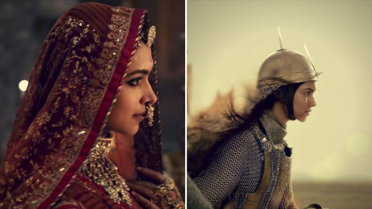 Deepika Padukone in stills from <i>Padmavati</i> and <i>Bajirao Mastani</i>.