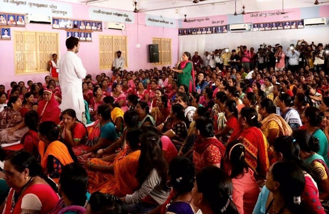 Rahul Gandhi interacts will women workers in Gujarat.