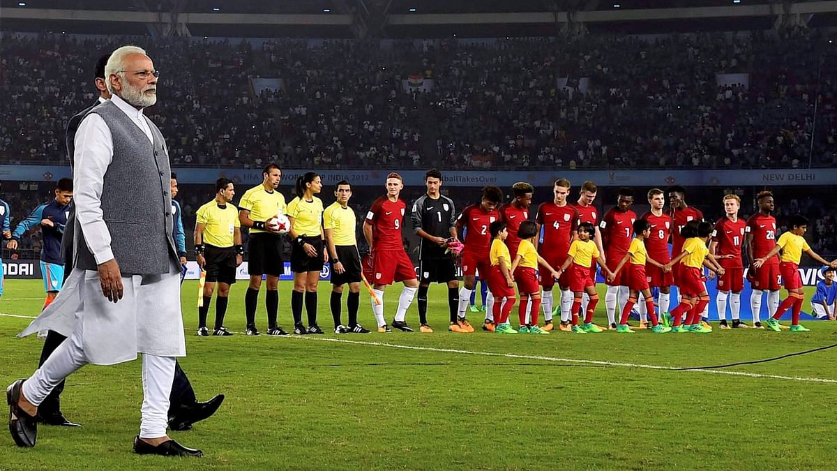 Prime Minister Narendra Modi on Friday graced Indian football's historic moment.