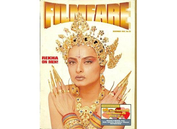 Rekha on the cover of <i>Filmfare </i>1997.
