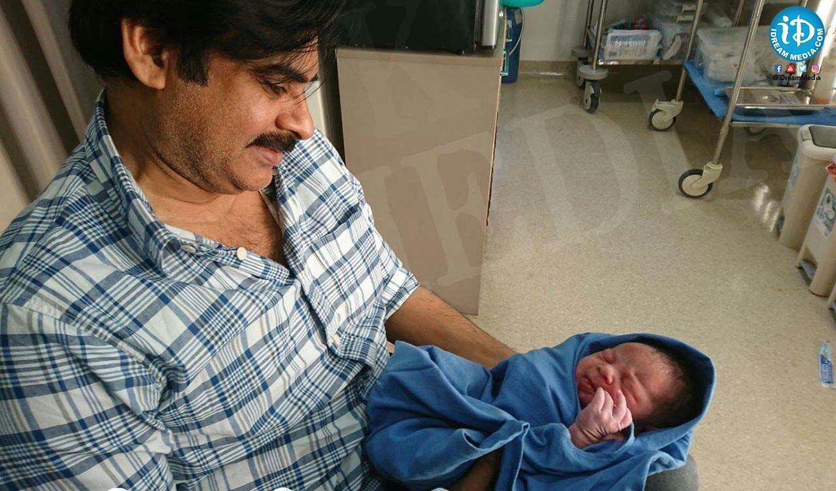Pawan Kalyan with his newborn.