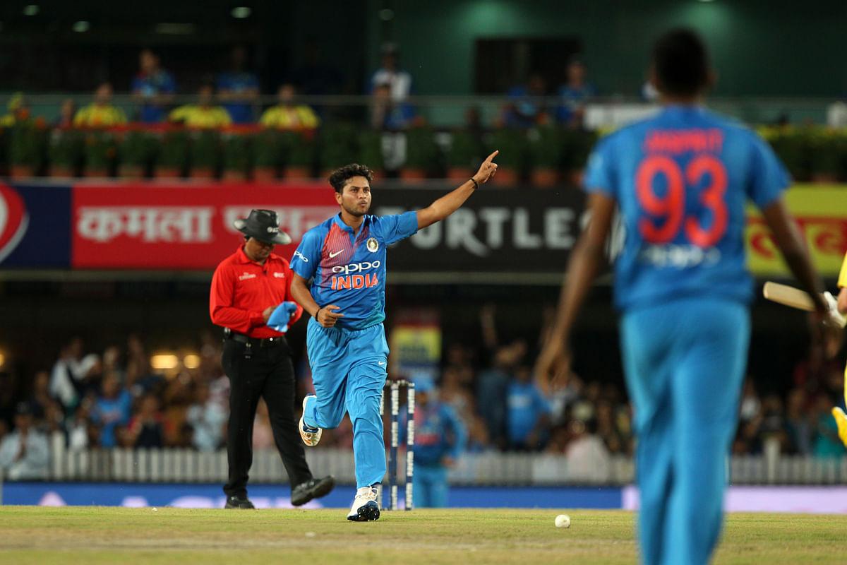 Kuldeep Yadav finished with figures of 2/16 in 4 overs.