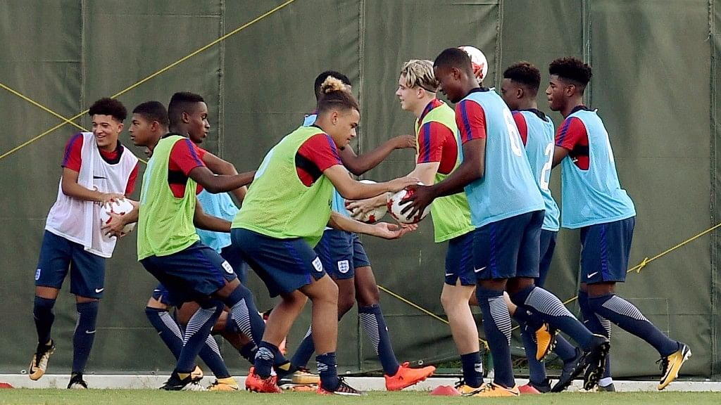 England football team practicing for the FIFA U-17 World Cup at SAI (Sports Authority of India) Complex in Kolkata on Wednesday.