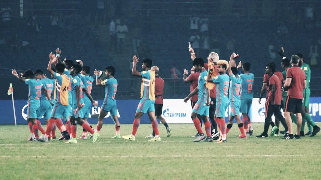 New Delhi: Indian players after loosing to Ghana in a FIFA U-17 World Cup Group A match at Jawaharlal Nehru Stadium in New Delhi on Oct 12, 2017.
