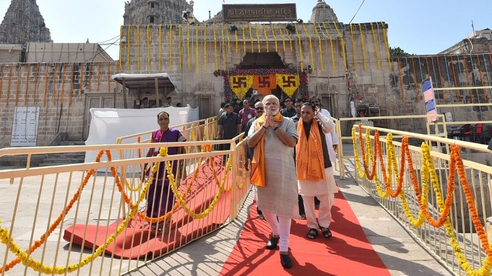 Prime Minister Narendra Modi at Dwarkadhish temple in Gujarat