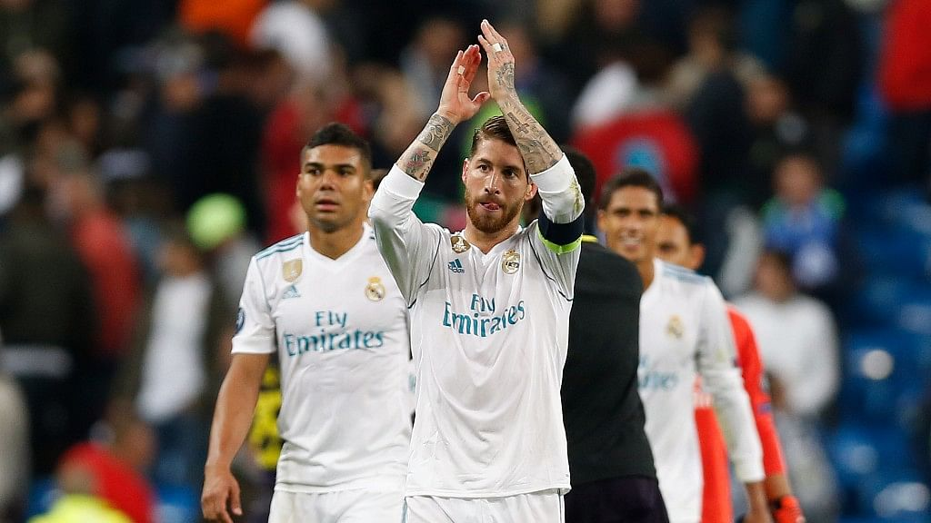 Real Madrid's Sergio Ramos claps hands to fans after the end of the Group H Champions League soccer match between Real Madrid and Tottenham Hotspur in Madrid. (Photo: AP)