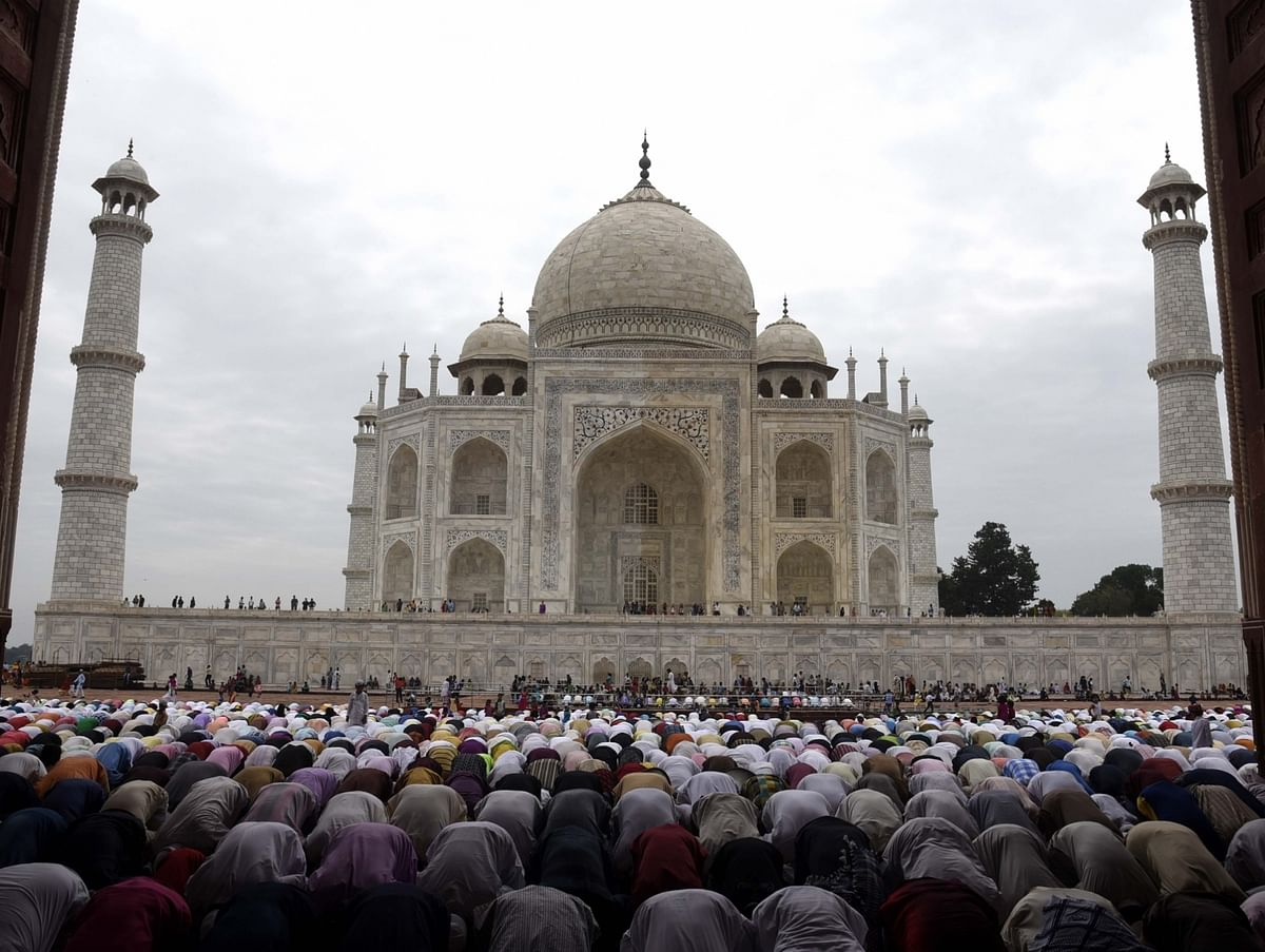 Muslims offer namaz on the occasion of Eid al-Adha at the Taj Mahal in Agra on 2 September 2017.