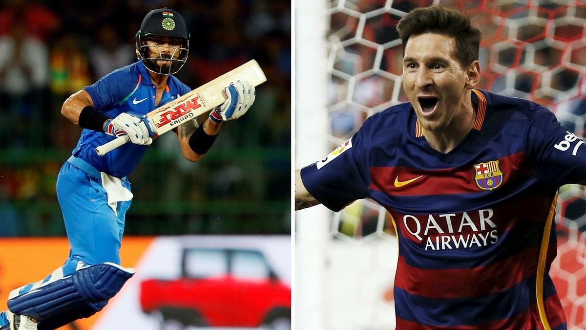 Virat Kohli (L) and Lionel Messi (R).