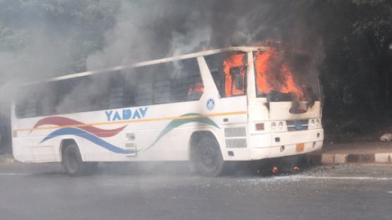 Fire broke out in a school bus near Delhi's Dhaula Kuan area.