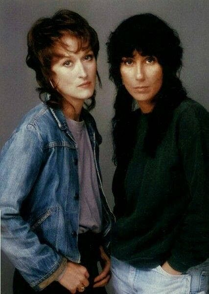 Cher with Meryl Streep in a promo for the 1983 film <i>Silkwood</i>.