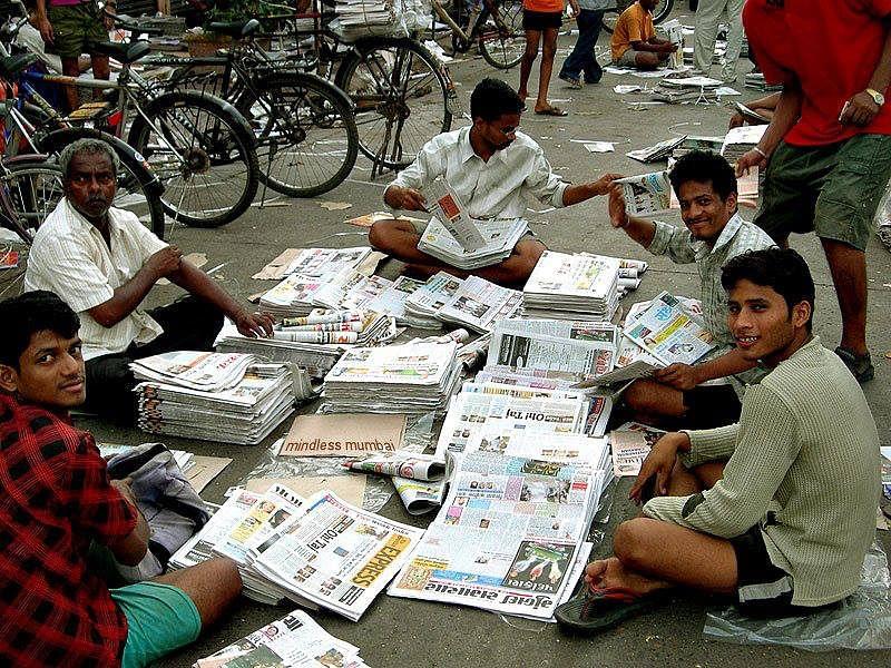A representational image of newspaper vendors in Mumbai.