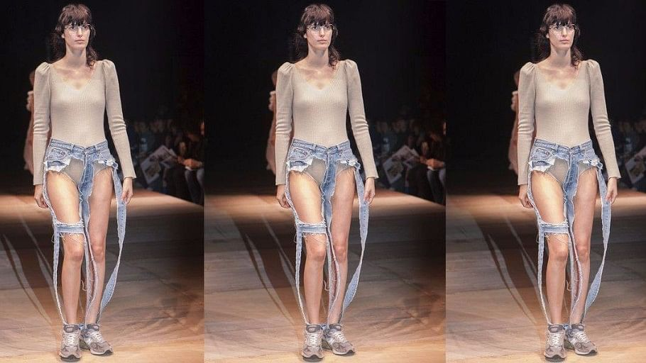 Thong jeans, the latest fashion trend.
