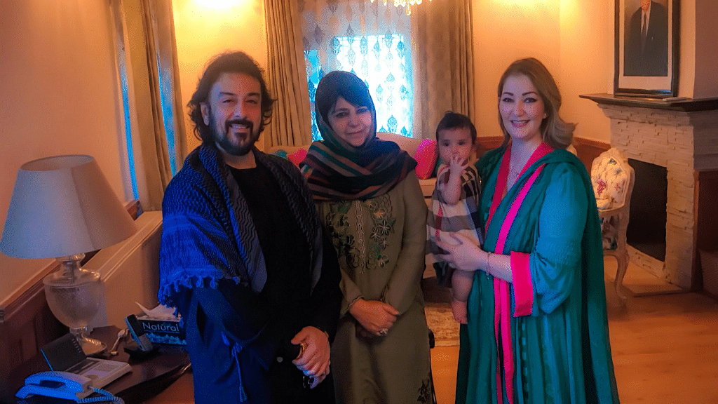 Adnan Sami visits Jammu and Kashmir CM Mehbooba Mufti with his family, ahead of the Rhythm in Paradise concert.