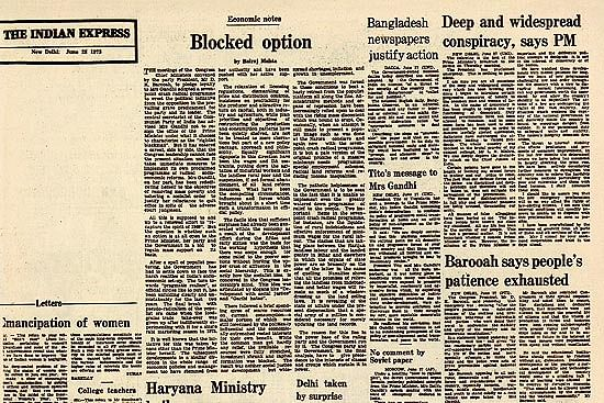 The editorial that was left blank by The Indian Express as a means of protest.