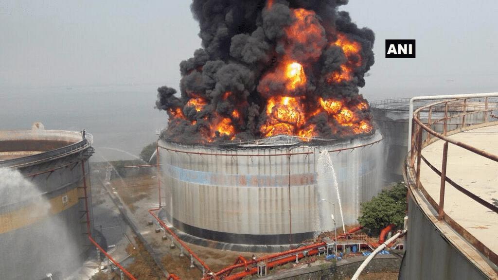 Butcher Island Oil Tank on fire
